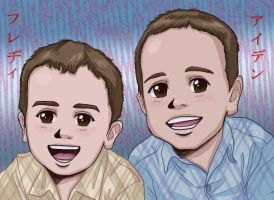 Freddie and Aiden's Portrait Colored by OtakuEC
