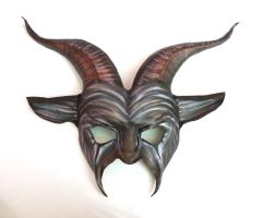 Leather Goat Mask  freaky dark carnival striped by teonova