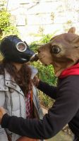 Me kissing the girl with the gasmask by DJSkyBase