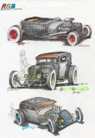 RGB - RatRod sketches - 220 and second deviation by HorcikDesigns