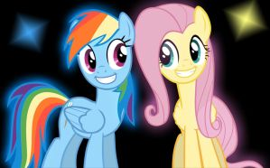 Happy Rainbow Dash And Fluttershy by KartDasher
