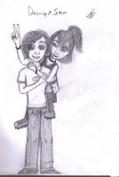 Danny and Sam-Piggybacks by Shaed-Knightwing