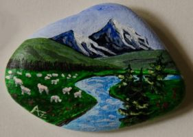 Flock of sheep - rock painting by Annamoon77