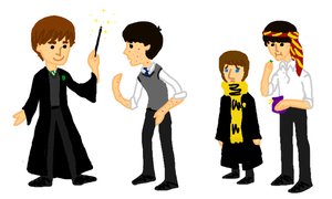 Beatles in Hogwarts by SomeoneWhoDoodles