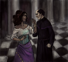 Esmeralda and Frollo by marinka18