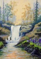 ACEO Woodland Waterfall by annieoakley64