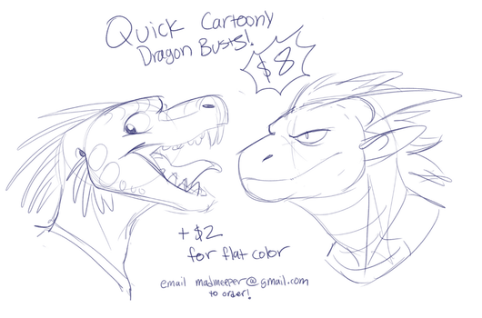 Dragon Bust Commissions! by MadMeeper