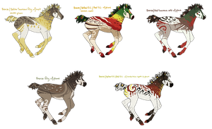 Bronze/Red Snowcone/Yellow Snowcone Foals by TeacupChimera