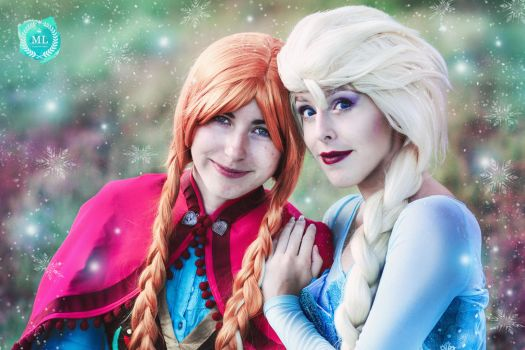 Elsa and Anna portrait Frozen cosplay by MissWeirdCat
