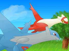 Latios and Latias by CyndersAlmondEyes