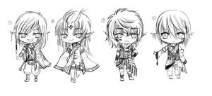 BW adoptable super chibi_Elf Family_CLOSED by JBeanSV