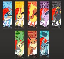 Eeveelution Bookmarks by Kureculari