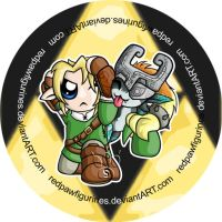 Chibi Link and Midna Badge by RedPawDesigns