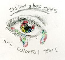 Stained Glass Eyes and Colorful Tears by tigernose123