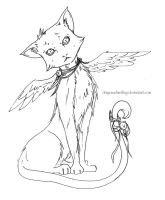 Winged Cat - Lineart by DragonsDwelling