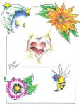 Tattoo Flash 004 by JosephLawn