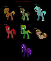 The Seven Deadly Sin Ponies (Need names) by wezzie1