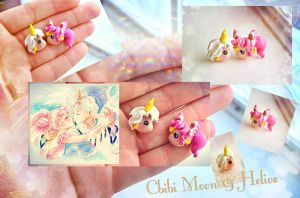 Handmade Chibi Moon and  Helios studs earring by mayumi-loves-sora