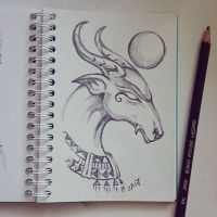 Instaart - Ram-headed creature by Candra