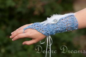 Frost Fairy Blue Fingerless Bridal Gloves by DeidreDreams