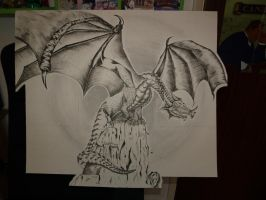 Dragon Pen and Ink by Therealjazzbertie