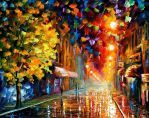 Happy Street by Leonid Afremov by Leonidafremov