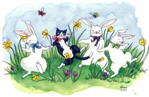 Dancing cat and bunnies by liselotte-eriksson