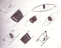 eyes in diff. styles bored by HyperCanaryFairy