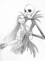 Jack + Sally -lineart- by Emmacabre