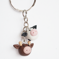 Cute Polymer Clay Cows Keyring by Linnypig