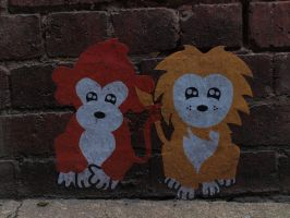Monkey and Lion by HempHat