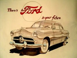 '49 Ford drawing by prestonthecarartist