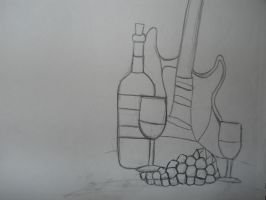 Guitar and Wine Sketch by wolfb09