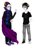 REDRAW: Collab - Eridan and Sollux by hekesi