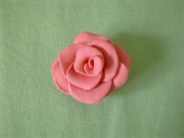 Pink polymer clay rose by FullmetalDemigod