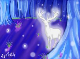 White Stag of the Forest at Night by TzikiiWolf