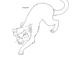 Scared Cat Lineart MS Paint Friendly by vickey1993