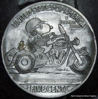 Hand Engraved Snoopy and Woodstock Motorbike by shaun750