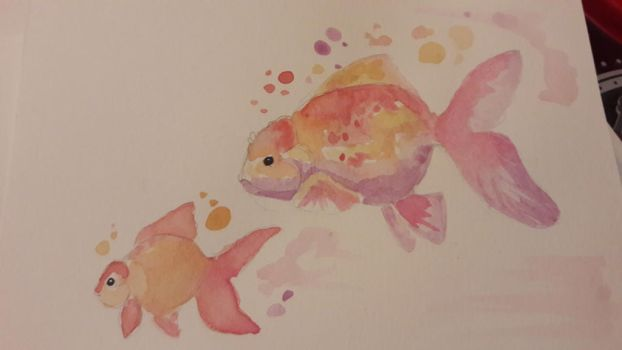 other goldenfish watercolor  by TattooLady89