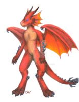 Commission: Red dragon anthro by Leithster