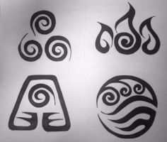 Avatar Element Symbols - Tribal Tattoo Design by graffitica