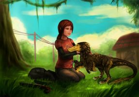 Ellie and Velociraptor by SoihtuSS