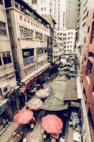 Bird's-eye view of hong kong street by JuhaniViitanen