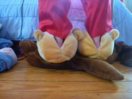 Pooh head slippers, back by ExileLink