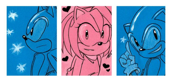Sonic and Amy Sketch Cards by tea-bug