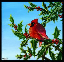 Cardinal in the Holly by shadowsmyst