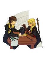 Commission - HP Hiccup and Astrid by charlestanart
