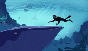 The diver and the whale by Konnestra