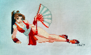Mai Shiranui Cross-Stitch by exoneuk