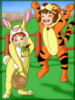 Lucy-Rabbit and CK-Tigger by KicsterAsh